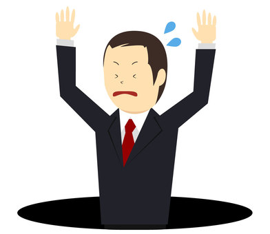 Men in suits falling into pitfalls Vector
