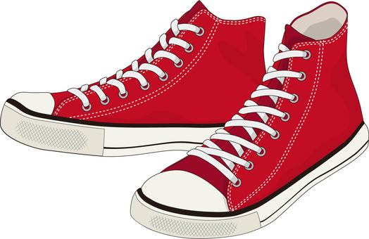 High-top sneakers red