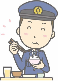 Policeman male a - delicious Japanese food - bust