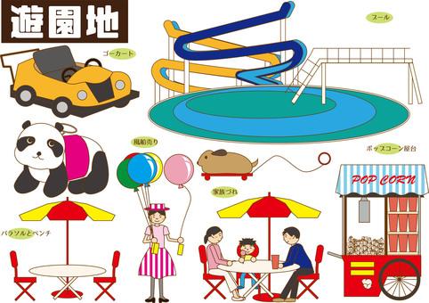 Amusement park (pool, people, etc.)