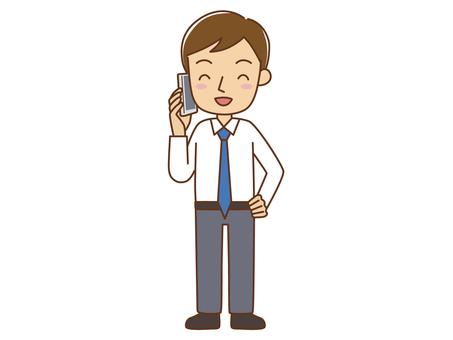 An office worker talking on a smartphone