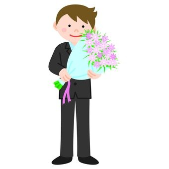 A young employee holding a bouquet, whole body