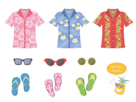 Aloha shirt and sunglasses and beach sandals