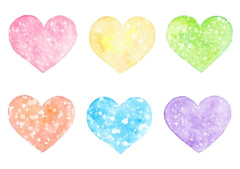 Watercolor sparkling heart