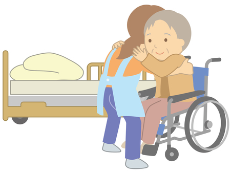 Transfer assistance between bed and wheelchair