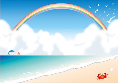Illustration of a rainbow and sea