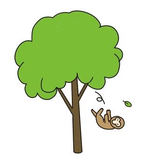 Illustration of monkeys falling from trees