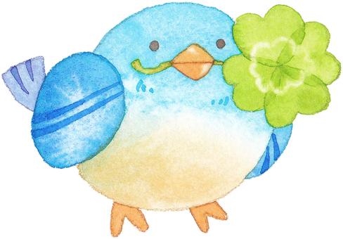 A bird with a four leaf clover bar facing right
