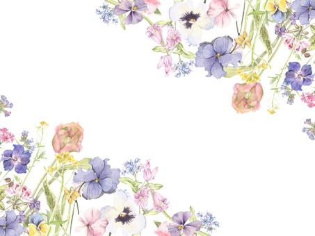 꽃 테두리 148- 부드러운 봄빛의 꽃 테두리 프레임