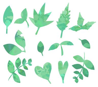 Watercolor leaf material
