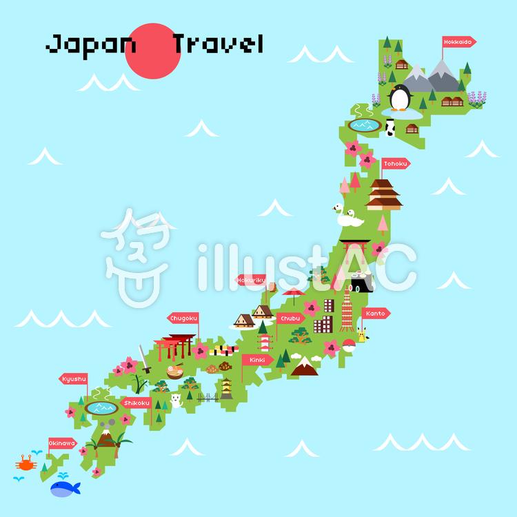 日本地図 イラスト おしゃれ