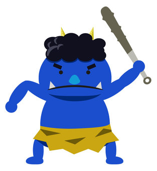 A blue demon with a gold stick