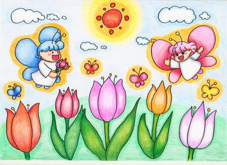 Tulip and butterfly fairy