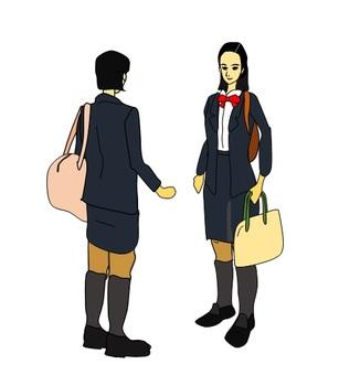 School girls meeting