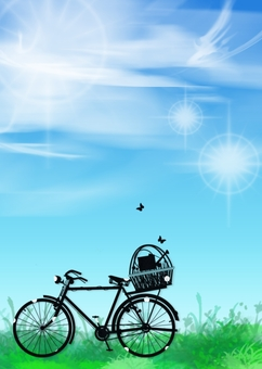 Blue sky and bicycle