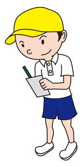 Elementary school girl taking a note