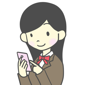 Female student operating a smartphone