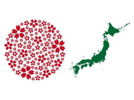 桜の日の丸と日本地図シルエット