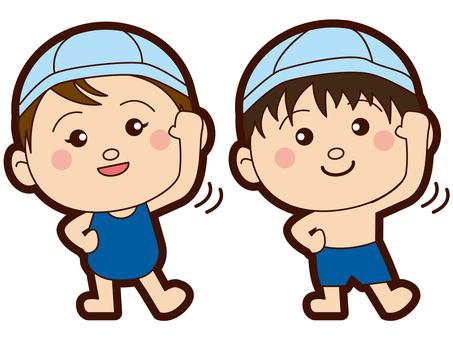 초등학생 - 수영장 - 수영복 - 남녀 - 체조