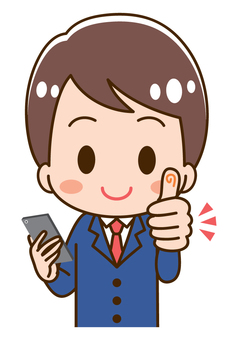 High school boy with a smartphone