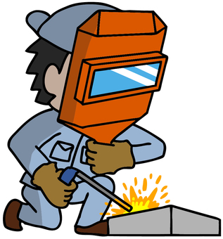 Illustration of a man who is welding