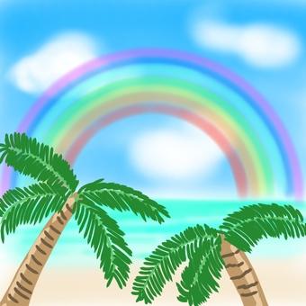Hawaiian sea and rainbow