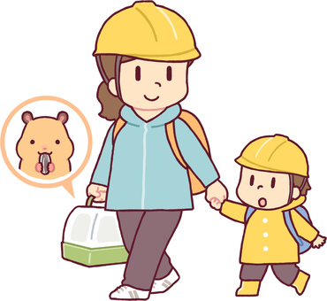 Parents and children evacuating with pets 4