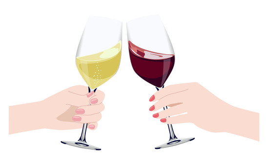 Cheers with wine! An illustration