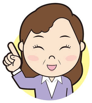 Senior female pointing (smiling face)