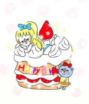 A girl riding on a cake
