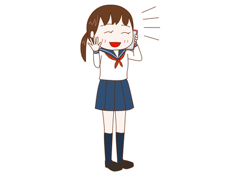 Female student talking happily on smartphone
