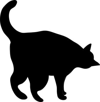 Nyanko silhouette cat peeps in