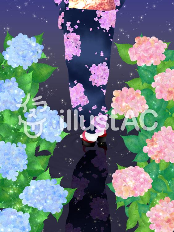 【フリーイラスト素材】着物女性と紫陽花