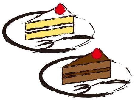 Short cake and chocolate cake