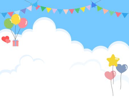 藍天氣球旗子
