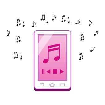 圖像在智能手機上聽音樂(粉紅色)