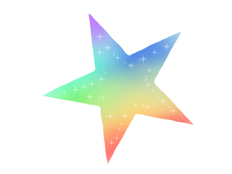 One rainbow-colored star
