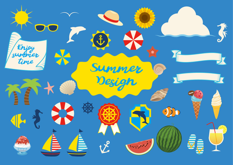 Summer illustration set 02