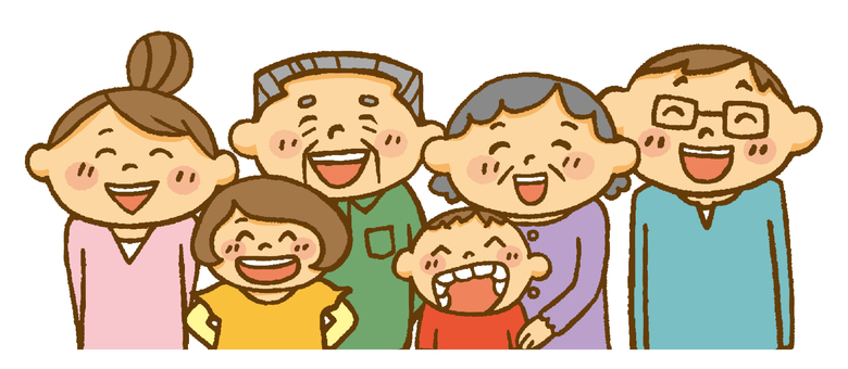 Family (laughing grandparents, couple and children)