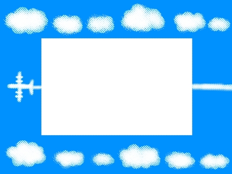 Airplane clouds frame sky light blue
