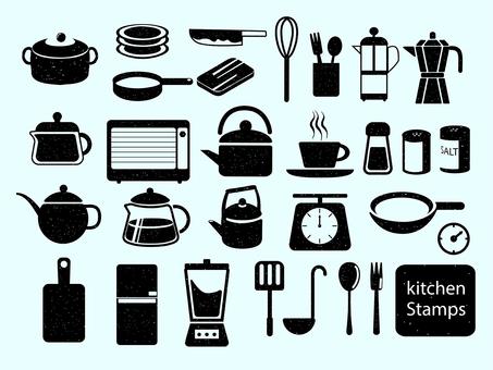 Stamp style kitchen supplies illustration black