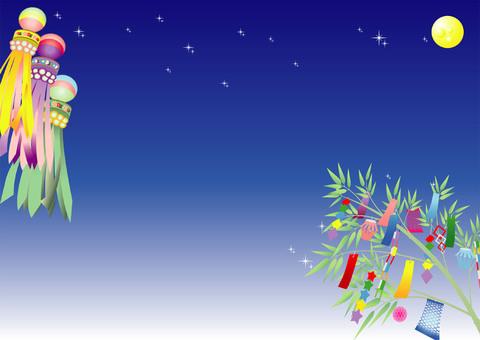 Night sky and tanabata decoration background