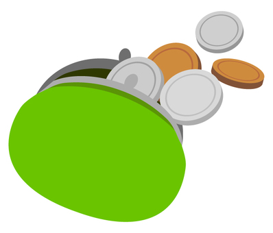 Purse and coin · money (green