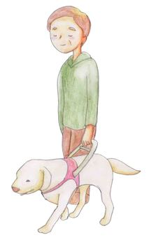 Male and guide dog