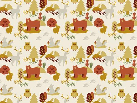 森の動物パターン 秋冬