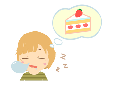 Sleeping woman dreaming about cake