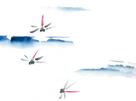 Ink series dragonfly and sky