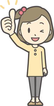 Girl yellow long sleeve-005-whole body