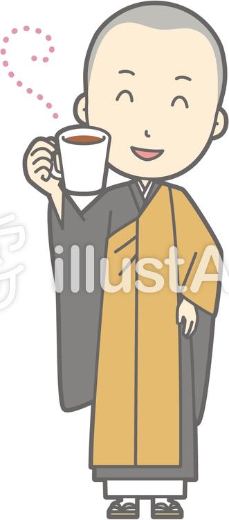 僧侶若者a-休憩-全身のイラスト