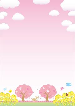 봄에는 벚꽃이있는 풍경 프레임 수직